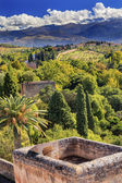 Alhambra Castle Tower Cityscape Farm Sierra  Nevada Mountains Gr — Foto de Stock