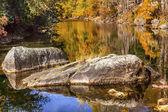 Fall Colors Orange Fire Reflection Wenatchee River Valley Near S — Stock fotografie