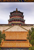 Longevity Hill Tower of the Fragrance of the Buddha Orange Roofs — Stock Photo
