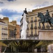 Puerta del Sol Gateway of the Sun Plaza Square Fountain King Car — Stock Photo #58125075