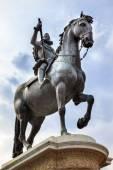 King Philip III Equestrian Statue Plaza Mayor Cityscape Madrid S — Stock Photo