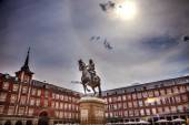 Plaza Mayor King Philip III Equestrian Statue Cityscape Madrid S — Stock Photo