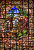 Stained Glass Peter Denial Basilica Santa Iglesia Collegiata de  — Stock Photo