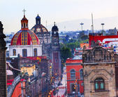 Zocalo Churches Domes Mexico City — Stock Photo