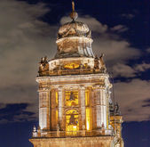 Metropolitan Cathedral Steeple Bells Statues Zocalo Mexico City  — Stock Photo