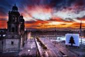 Metropolitan Cathedral Zocalo Mexico City Sunrise — Stock Photo