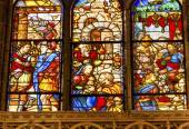 King Merchants Nobles Stained Glass Salamanca New Cathedral Spai — Stock Photo