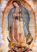 Original Virgin Mary Guadalupe Painting New Basilica Shrine Mexi — ストック写真