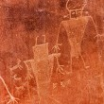 Native American Indian Fremont Petroglyphs Capital Reef National Park — Stock Photo #73341911