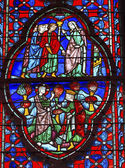 King Christ Mary Stained Glass Sainte Chapelle Paris France — ストック写真