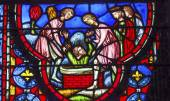 Baptising King in Water Stained Glass Sainte Chapelle Paris Fran — Stock Photo
