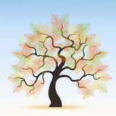 Autumnal tree with leaves — Vector de stock
