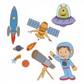 Doodle Planet Space set — Stock Vector