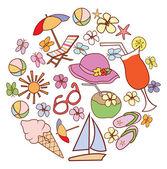 Summer Doodle Circle Banner — Cтоковый вектор