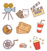 Cinema Attribute Object Collection — Stock Vector
