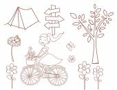 Spring Doodle Object Collection Hand Drawn Sketch Doodle — Vetorial Stock