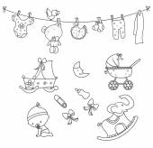 Baby Doodle Object Hand Drawn Sketch Doodle — Vetorial Stock
