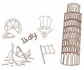 Italy tourism hand drawn Sketch Doodle — Vetorial Stock
