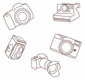 Camera object Collection Hand Drawn Sketch Doodle — Stock Vector