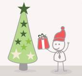 Funny Doodle : Businessman Christmass Tree — Stock Vector