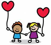 Happy lover kids with red heart cartoon illustration — Stock Vector