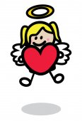 Cupid girl wit love ballon — Vecteur