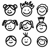 Funny Kids Head Line art collection — Stock Vector