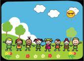 Niños felices con la mano en el Parque — Vector de stock