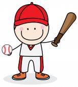 Jongen honkballer — Stockvector