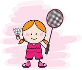 Girl playing badminton — Stock Vector