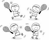 Boys playing badminton — Stock Vector