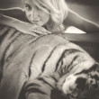 Woman and tiger — Stock Photo #62815199