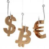 Money icon on fish hooks. — Stock Photo