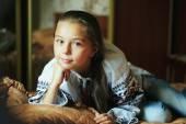 Little girl  with traditional Ukrainian shirt — Stock Photo