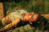 brunette girl at the open air — Foto de Stock
