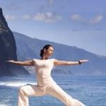 Young woman making yoga — Stockfoto #79381446