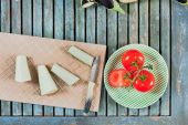 Aubergines and tomatoes — Stock Photo