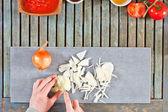 Chopping onions — Stock Photo
