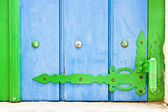 Green and blue shutter — Stock Photo