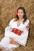 Young woman with national costume from Bulgaria — Stock Photo