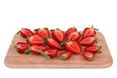 Strawberries cut into halves — 图库照片