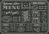 Chalkboard Restaurant Menu Template — Stock Vector