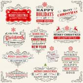 Vintage Vector Christmas labels — Stock Vector