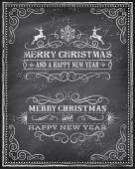 Vector Christmas Chalkboard Greeting Card — Vetor de Stock