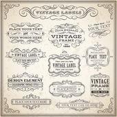 Vintage Calligraphic Labels Set — Stock Vector