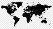 Witam ilustracja czarny detal wektor polityczna mapa świata — Wektor stockowy