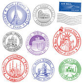 Grunge Vector Monument Stamps — Stock Vector