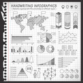 Notebook Black and White pen drawn infographics — Stock Vector