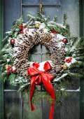 Homemade christmas wreath — Stock Photo
