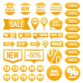 Yellow Sale Banners Ribbons Labels — Cтоковый вектор